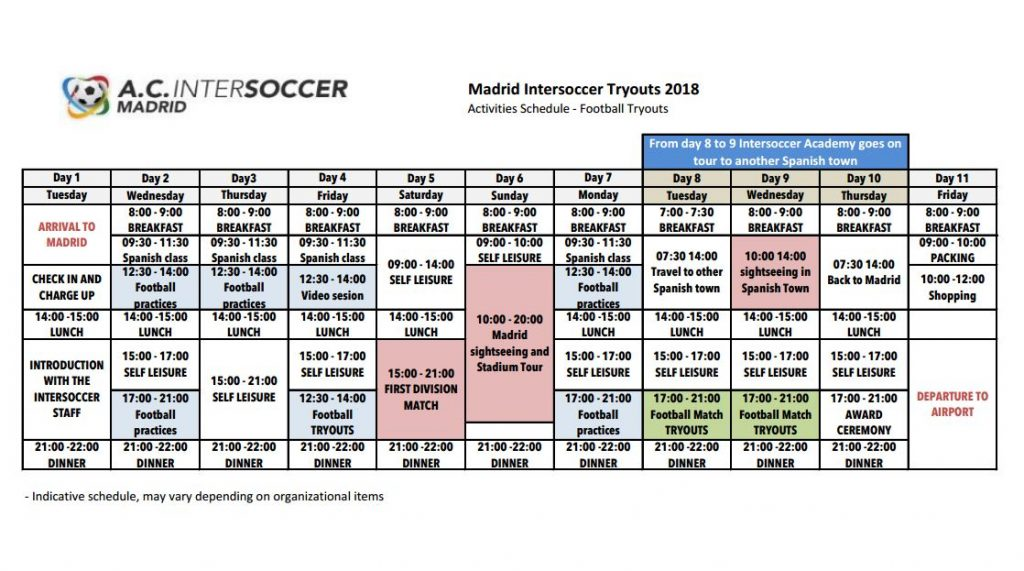 Soccer tryout schedule