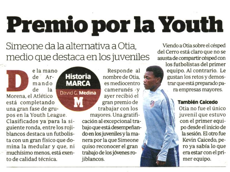 Otia destaca entre los juveniles del Atlético de Madrid