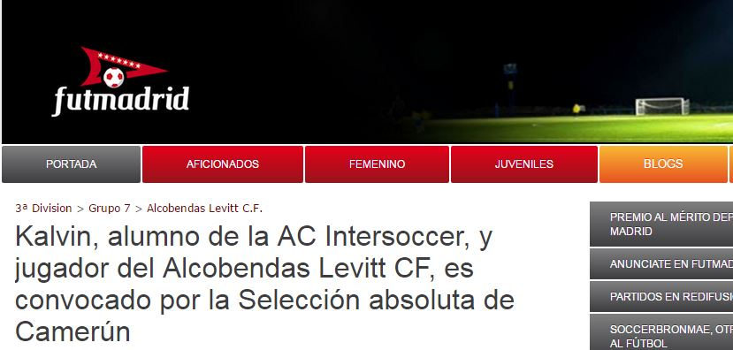 La noticia de Kalvin a la selección en futmadrid.com